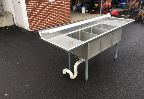 Stainless Steel commercial sink with three basins