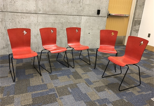 Lot of 5 Children's chairs, red