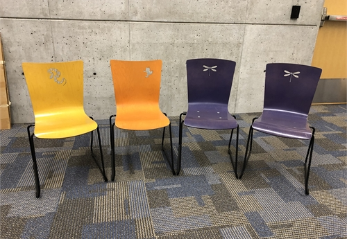 Lot of 4 Children's chairs, purple/orange/yellow