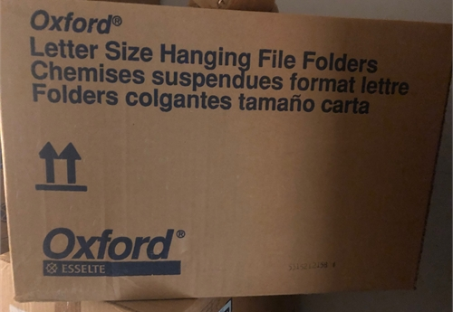 16 boxes of letter size hanging folders