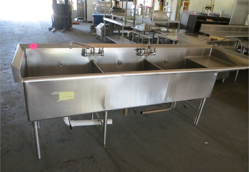 #1927 Stainless Steel 3 Bay Sink with Handwash Sink