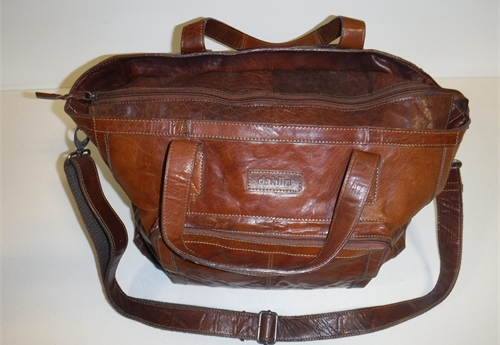 "Brown Satchel with ""Dahlin"" label"