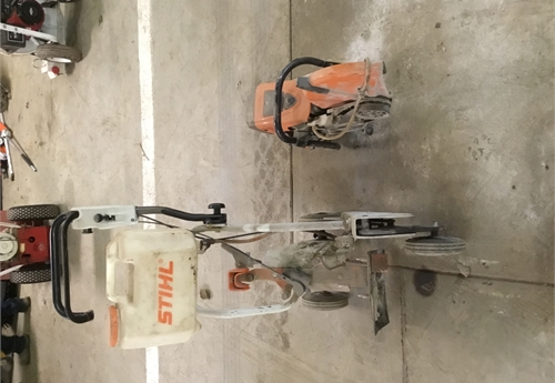 Stihl Demo saw with cart and water tank
