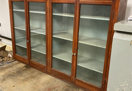 "Antique Airport Display Cabinet 85""W x 54""H x 15""D"