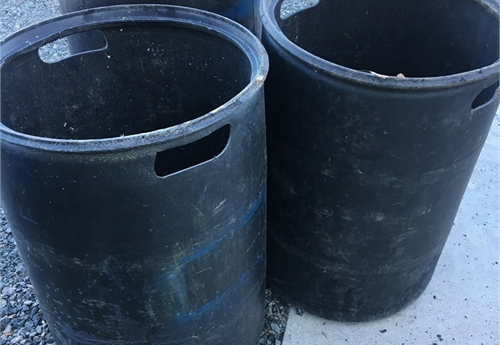 Plastic 55 gallon drums/barrels (set of 3 BLACK)